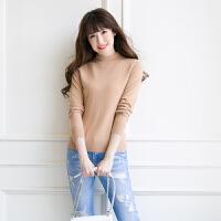 秋冬新款女套头毛衣半高领山羊绒衫修身百搭打底衫加厚羊毛衫纯色