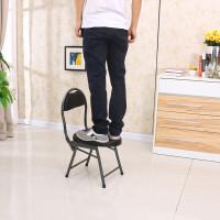 坐便凳加固孕妇坐便椅老人厕所凳移动马桶座便器洗澡凳子 橘黑 43高黑色小折椅