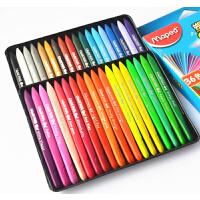 马培德24 36 48色塑料蜡笔 儿童绘画涂鸦画笔不粘手三角蜡笔