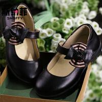 斯纳菲童鞋女童皮鞋黑色白色真皮儿童皮鞋春秋学生演出鞋公主单鞋