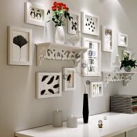 欧式简约雕花置物架黑白实木相框墙照片墙组合挂墙新品送画芯