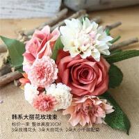 仿真玫瑰花花束欧式高客厅卧室办公桌装饰摆件假花绢花插花小盆栽