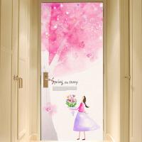 宜美贴 水彩手绘樱花树 客厅卧室餐厅室内*门贴韩国墙贴