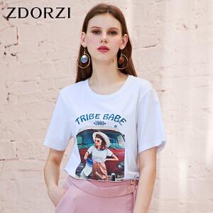 ZDORZI卓多姿夏装宽松休闲印图时尚短袖女装T恤734E067