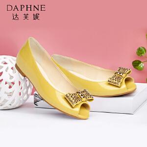 Daphne/达芙妮 低跟铆钉蝴蝶结鱼嘴女单鞋1015102025