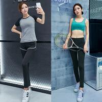 春夏健身房瑜伽服短袖上衣女运动跑步服长裤健身三件套装显瘦