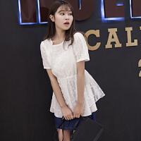 胖mm加大码女装2018夏新显瘦韩版纯白蕾丝上衣