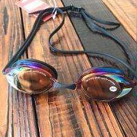 泳镜女 大框防水防雾高清电镀游泳眼镜 男女运动游泳装备 黑橘 电镀