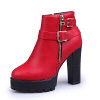 2017秋新款马丁靴女纯色高跟粗跟圆头显高显瘦女短靴