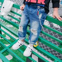 秋装新款童装男童裤子儿童牛仔裤中小童休闲裤宝宝长裤链条破洞裤
