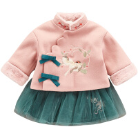 女宝宝过年装拜年服冬季加绒两件套裙唐装中国风