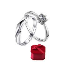 日韩版1克拉钻戒仿真钻石戒指女一对结婚求婚情侣对戒男婚戒开口 S款【均码】 送方盒子1个