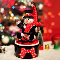 20180703030234186陶瓷雪人娃娃音乐盒八音盒糖果罐创意新年生日礼物女王节送男女友 音乐:祝你圣诞快乐