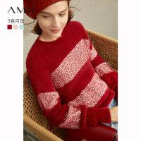 Amii极简慵懒风洋气套头毛衣女2020冬新款红色条纹宽松圆领针织衫