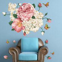 宜美贴 国色天香 客厅卧室电视沙发墙墙装饰浪漫可移除墙贴纸