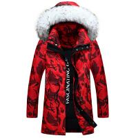 新款冬装男士迷彩羽绒服男中长款修身加厚情侣外套潮反季
