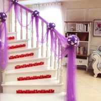 结婚用品沙曼纱曼背沙红纱球形楼梯装饰纱幔会场客厅拉纱布料壁挂