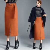 纯色修身先后搜气质韩版简约时尚气质2017年冬季长裙H型半身裙高腰