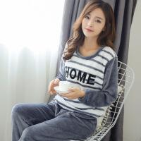 韩版女士加厚绒睡衣家居服大码条纹绒套装 H-351灰色