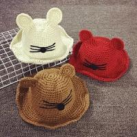 儿童帽子秋冬天大沿渔夫帽针织毛线帽盆帽宝宝帽子保暖遮阳帽韩版