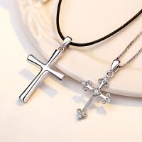 S999银情侣项链一对男女学生十字架吊坠刻字送女朋友情人节礼物