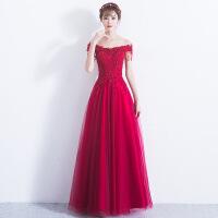 敬酒服新娘2018新款性感一字肩长款修身显瘦红色结婚晚礼服女