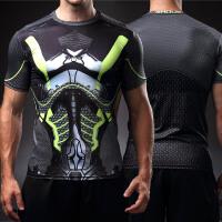 紧身衣男锻炼健身衣蝙蝠侠服速干跑步运动短袖t恤