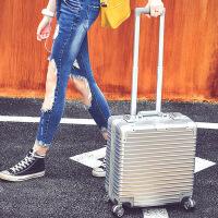 七夕礼物登机箱万向轮铝框拉杆箱18寸女空姐电脑箱密码旅行箱16小登机箱20 时尚银 18寸