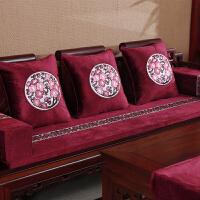 红木沙发坐垫中式家具沙发垫套布艺四季防滑实木中国风罗汉床垫 红色 梅香送暖