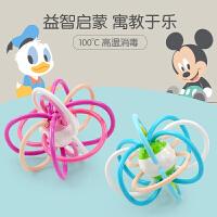 男孩迪士尼婴儿玩具摇铃0-3-6-12个月宝宝牙胶手抓球正版授权 早教 益智玩具 米奇牙胶手抓球