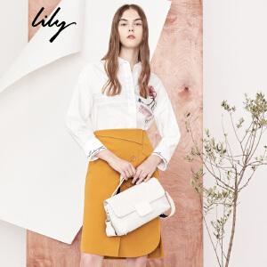 【每满200减100】Lily2018秋新款女装商务OL时尚两穿衬衫不对称衬衫女118110C4216