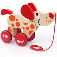 婴儿步行学步车儿童小拉车玩具推学步车 6-36个月小狗拉线车鳄鱼 小狗拖拉车