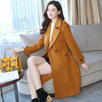 实拍秋冬新款女装毛呢外套女中长款韩版大码宽松呢子大衣