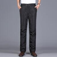 冬季男士羽绒裤男外穿可脱卸加厚棉裤加肥高腰户外大码90%白鸭绒 黑色