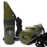 户外野营七合一多功能口哨 求生哨救生哨子 带LED灯温度计指南针