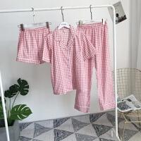 儿童纯棉睡衣短裤长裤套装男女童格子开衫家居服薄款亲子