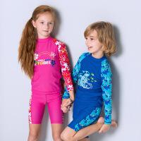 儿童长袖分体游泳衣防晒中大童女孩可爱男童学生平角泳裤套装夏季