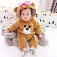 女婴儿连体衣冬季加厚宝宝外出抱衣服新生儿外套装