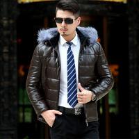 中年皮羽绒服男中长款加厚外套爸爸装冬季皮袄大码宽松真狐狸毛领 棕色-短款 M