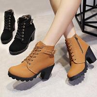 秋冬季女士单鞋圆头高跟马丁靴英伦风裸靴女鞋厚底粗跟短筒短靴潮