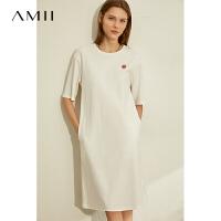 【券后预估价:122元】Amii个性休闲纯棉连衣裙2020夏新款宽松白色初恋裙印花T恤中裙女