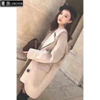 冬季新款时尚套装女韩版毛呢外套加厚呢大衣+针织连衣裙两件套