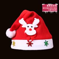 圣诞节装饰品圣诞帽子小朋友头饰 小孩帽帽帽卡通帽发光