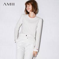 Amii极简港风复古刺绣圆领长袖T恤女2018秋新款修身显瘦休闲上衣
