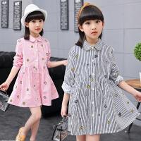 女童春装长袖连衣裙新款儿童公主裙韩版中大童条纹裙子