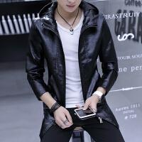 男士外套春季新款韩版休闲皮夹克秋冬帅气连帽中长款皮衣青年