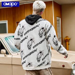 【限时抢购到手价:109元】AMAPO潮牌大码男装骷髅印花加肥加大胖子宽松嘻哈套头毛衣针织衫