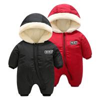 女婴儿衣服0岁3个月5男宝宝反季哈衣爬服加厚7新生儿连体衣秋冬装