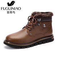 富贵鸟靴冬季棉靴保暖羊毛靴防滑耐磨男士靴子FG16083M 棕色 41皮鞋码
