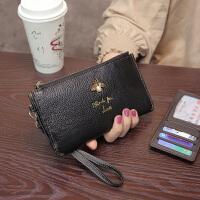 新款欧美真皮钱包女长款手拿包牛皮拉链手包卡包钱夹手机包潮